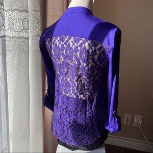 BeBe Indigo Lace-Back Polyester Top